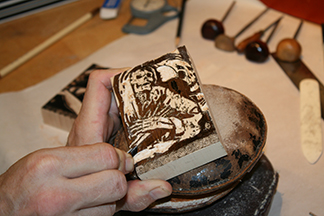 George working on engravings for the Valdemar book